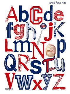 MINNESOTA TWINS baseball ABC Nursery Art Print by AreaFareKids