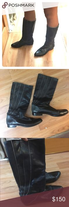 Black striped frye boots. Calf height flat boots. Frye Shoes Combat & Moto Boots
