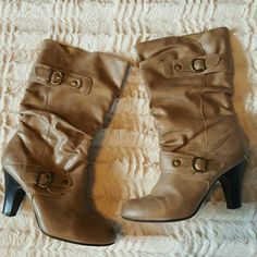 Tan boots Beautiful tan colored boots with buckles. Slight scuff on heels, but other than that great condition. spunky Shoes Heeled Boots