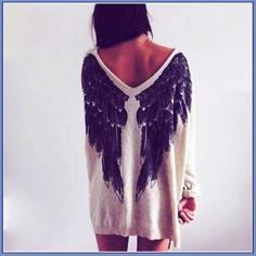 White Angel Wings Loose Jumper from Choies. Saved to Tops. Shop more products from Choies on Wanelo. Look Fashion, Autumn Fashion, Womens Fashion, Net Fashion, Fashion 2015, Fashion Outfits, Mode Style, Style Me, White Angel Wings