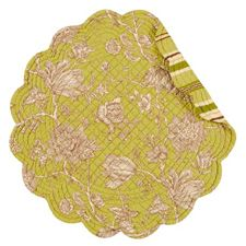 Berkeley Green Round Quilted Placemat