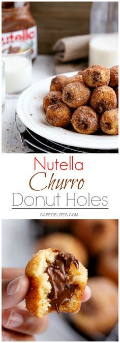 Nutella Churro Donut Holes Only 64 calories EACH! No knead. No yeast. Baked not fried. Ready in less than 20 minutes! http://cafedelites.com