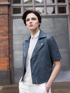 Emro Blue Leather Biker Jacket