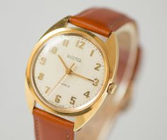 Gold plated men's watch East classic face wrist watch by SovietEra, $97.00