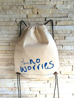 EcoBag - No Shoes, No Worries No Worries, Drawstring Backpack, Backpacks, Sewing, Trending Outfits, Unique Jewelry, Handmade Gifts, Diy, Bags