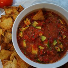 Salsa with Avocado and Homemade Baked Tortilla Chips