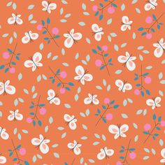 144807 Butterfly Garden   Orange Quilter's Cotton from Spring Walk by little cube for Cloud9 Fabrics
