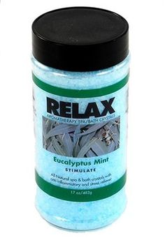 Eucalyptus Mint Aromatherapy Bath Salts -17 Oz- Natural Minerals for Soaking Aches, Pains & Stress Relief for Spa, Bath by Relax Spa & Bath. $9.95. Does Not Affect the pH or Water Chemistry - Safe for Children & Pets - Will Not Damage, Stain or Affect Equipment or Surface. Powerful Aromatherapy with Natural Coloring - Enhances Relaxation - Vitamin Enfused. Skin Softening Moisturizers - For Spas, Hot Tubs, Jacuzzi, & Whirlpool Bath - Spa Safe. Remedy for Aches & P...