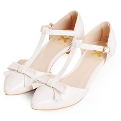 Ivory White Leather T Strap Low Heel Wedding Party Dress Shoes Women SKU-1090081