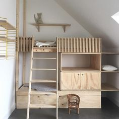 Loft bed for the children& room- Hochbett fürs Kinderzimmer Loft bed for the children& room - Cool Bunk Beds, Kids Bunk Beds, Loft Beds, Loft Spaces, Kid Spaces, Casa Kids, Kids Room Design, Kidsroom, Kids Furniture
