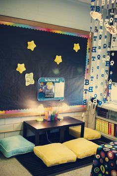 Using a low coffee table and sitting on the floor? Casual, informal writing space. Perfect for low ceiling bedroom. From http://willgradeforcoffee.blogspot.com/p/my-classroom.html#
