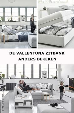 Verander de dynamiek in je woonkamer met onze VALLENTUNA zitbank! Van een luxe thuisbioscoop tot een uitnodigend hoekje om je lekker te nestelen, ontdek onze woonideeën in één sofa! VALLENTUNA 6-zits hoekbank, 1.815,-/st. #IKEABE #IKEAidee  A sofa is more than just a sofa! From a home cinema hang-out to a nest to curl up in, discover our ideas to live with one sofa! VALLENTUNA Sleeper sectional, 5-seat corner, 1.815,-/pce. #IKEABE #IKEAidea