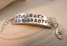 Have a special place you want to hold close to your heart? Here is a fashionable and unique way to have it close to your heart!  Wherever You Roam...Latitude Longitude Keepsake Link Style Bracelet