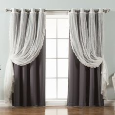 Best Home Fashion Dotted Tulle Blackout Mix & Match Curtain Panels - Set of 4 Dark Gray, Size: 52 x 84 Drapes And Blinds, Grommet Curtains, Blackout Curtains, Drapes Curtains, Curtain Panels, Brighten Room, Curtain Styles, Curtain Ideas, Custom Drapes