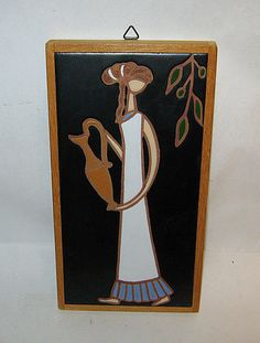 Vintage Mid-Century Mod GRECIAN WATER GIRL Danish Tile E. MIXANDIDOU Signed  I don't have this one! I do have a woman with wheat, with grapes, and with amphora.