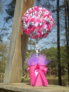 Pinkalicious party Pink Camo Birthday, Pink Camo Party, Zebra Party, Baby Girl Birthday, Teen Parties, 9th Birthday Parties, Sweet 16 Parties, Ribbon Topiary, Topiary Centerpieces
