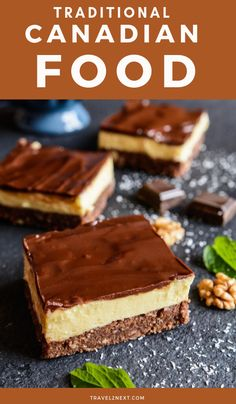 Iconic Canadian Food: The History of the Nanaimo Bar - Preserves Canadian Dishes, Canadian Cuisine, Canadian Food, Canadian Recipes, Nanaimo Bars, Recipe Icon, Butter Tarts, Italian Desserts, French Food