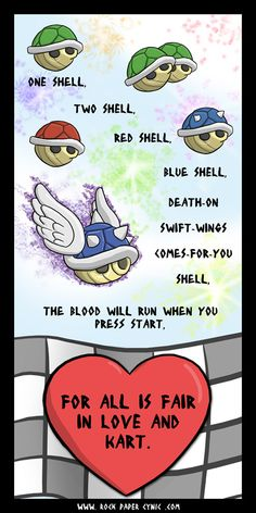 One Shell, Two Shell, Red Shell, Blue Shell (Mario Kart Parody P. V) - Comics About Video Games.maybe out this up in a game room or something Mario Brothers, Video Games Funny, Funny Games, Mario And Luigi, Fandoms, Gaming Memes, Geek Out, Super Mario Bros, Game Character