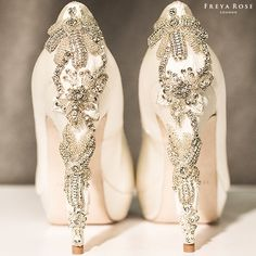 Hand embroidered crystals, beads and chiffon. What more could a girl want on her wedding day! #freyarose #shoe #wedding #bride #wchappyhour http://freyarose.com/Bridal-Shoes/Darling