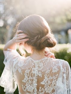 Bridal Chignon   Secret Garden Wedding Insiration by Kate Anfinson Photography and Natalie Choi Events