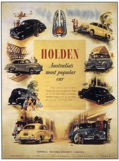 Advertisement for Holden cars, c. 1950