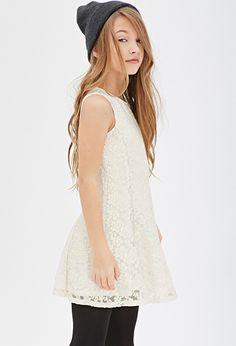 Glitter Floral Lace Dress (Kids)   FOREVER21 girls - 2000136080