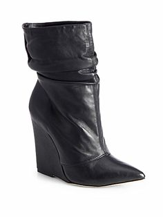 Alice + Olivia - Odessa Tumbled Leather Wedge Boots
