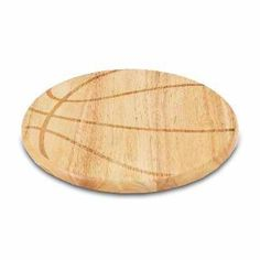 """The Free Throw cutting board is a 12"""" round x 0.75"""" board made of eco-friendly rubberwood in a basketball design, with 104 square inches of cutting surface. It can be used as a cutting board or serving tray, or use both sides of the board, one for cutting and the other for serving. The backside of the board has is blank, with no design. Score with your guests when you show them your Free Throw!"""