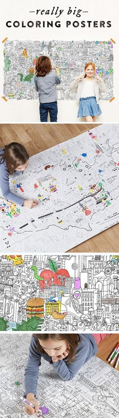 Love these enormous coloring posters, chock full of fun, detailed drawings that kids—and adults—will be extra excited to explore and fill in. Hang it on a wall, or roll it over a floor, and spend hours coloring. Adult Coloring, Coloring Pages, Kids Coloring, Coloring Sheets, Little People, Little Ones, For Elise, Detailed Drawings, Craft Activities