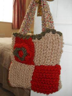 Handmade Knitted and Crochet Handbag Purse by Ladydarinefinecrafts