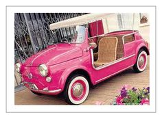 Hot pink Fiat 600 Jolly! I would so like to drive it!