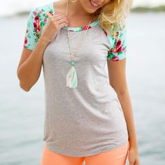 Women's Solid Raglan with Floral Accent