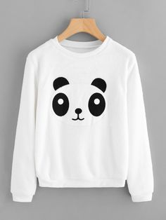 Panda Applique Front SweatshirtFor Women-romwe