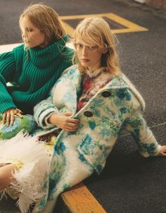Models Laura Hagested & Polina Oganicheva are styled by Ako Tanaka in pattern and texture frenzy for 'Mix and Mingle'. Photographer Jack Waterlot is in the studio for Numero Tokyo November Hair by Kenichi; makeup by Yumi Endo Fashion Editor, Fashion 2017, Editorial Fashion, Tatjana Patitz, Prada, Online Shopping, Campaign Fashion, Joan Smalls, Vogue Us