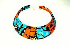 Orange And Blue African wax BIB Necklace Fabric by ZabbaDesigns