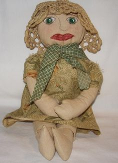 Primitive Handmade Cloth Doll Early American Art Doll Treva Gifts | MJOYS - Dolls & Miniatures on ArtFire