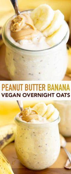 Overnight Oats With Yogurt, Peanut Butter Overnight Oats, Banana Overnight Oats, Rolled Oats Recipe Overnight, Healthy Overnight Oats, Banana Recipes Vegan, Oatmeal Recipes, Healthy Peanut Butter, Peanut Butter Banana