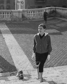 Audrey and Mr Famous on Roman streets,1958 #AudreyHepburn #MrFamous