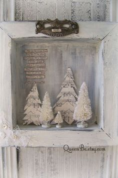 Handmade Christmas Wall Decoration Winter White Scene Shadowbox Vintage Shadow Box White Christmas Shabby White Decor Bottle Brush Tree christmas decorations vintage style sheet music Your place to buy and sell all things handmade Tiny Christmas Trees, Christmas Shadow Boxes, Noel Christmas, Christmas Balls, Christmas Wreaths, Christmas Decorations, Christmas Ornaments, Vintage Christmas Decorating, Xmas