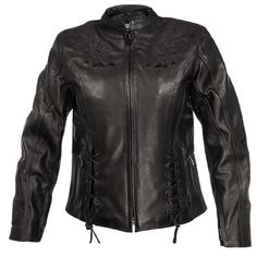 Xelement Women's Embroidered Steer Head Flower Motorcycle Leather Jacket
