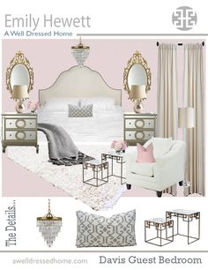 """Davis """"Girly Chic"""" Guest Bedroom Online Design Board by Emily Hewett of A Well Dressed Home - Taya Day"""