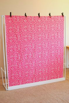 Affordable Photography Backdrops ... make this with pvc pipe and fabric for under $20 ... riverroadrustics