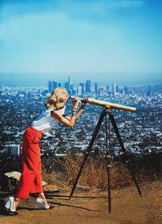 View from the Top | LA Skyline | Telescope | Vintage Fashion | Retro | Runyon Canyon