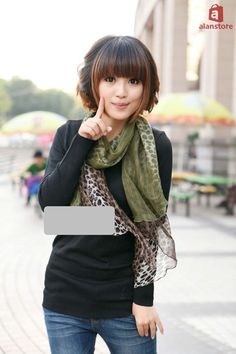Women Autumn Winter Scarf, Wrap, Shawl, Double Layered Leopard Pattern Print Real Natural Silk Made