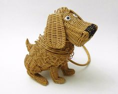 Vintage Wicker Dog Purse Figural Animal Basket Handbag Mid Century - This fellow is gone, but he is just so cute!