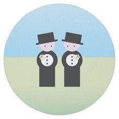 Two caucasian grooms round paper coaster