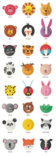 Basteln: Witzige Tiermasken aus Papptellern (DIY) Animal masks out from paper plates Kids Crafts, Halloween Crafts For Kids, Toddler Crafts, Preschool Crafts, Arts And Crafts, Baby Crafts, Preschool Ideas, Paper Plate Animal Masks, Paper Plate Art