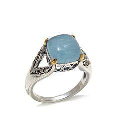 Gray Marcasite Milky Aquamarine 2-Tone Sterling Ring
