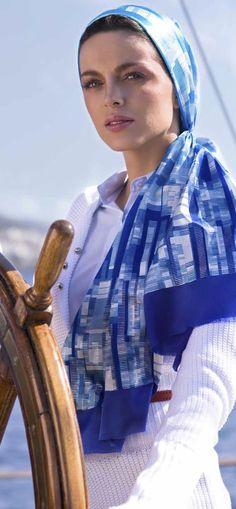 Aker Eşarp / Scarf - 2008 S/S 80s Womens Fashion, 80s Fashion, Fashion Outfits, Vintage Fashion, Style Fashion, Greece Fashion, Nautical Fashion, Nautical Style, How To Wear Scarves