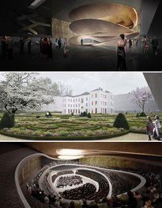 Designed for Drama: 13 Fresh New Modern Theaters Theater Theatre Design, Hall Design, London Theatre, Floating Wall, Concert Hall, Building Design, Places To See, Inner Ear, Architecture Design